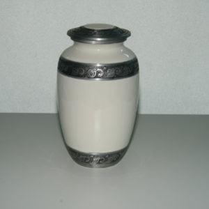 Urna – kamień biały ze złotymi zdobieniami